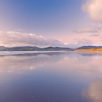 Peaceful Sunset Panorama at Rossbeigh Beach, County Kerry, Ireland nearby Glenbeigh with cloud reflexion and soft colours, County Kerry, Ireland / kr003