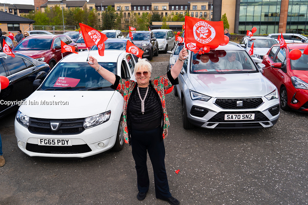 Glasgow, Scotland, UK. 5 May 2021. Scottish Labour Leader Anas Sarwar and former Prime Minister Gordon Brown appear at an eve of polls drive-in campaign rally in Glasgow today. Pic; Labour supporter in drive-in rally.  Iain Masterton/Alamy Live News