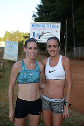 © Licensed to London News Pictures. 02/02/2014. Iten, Kenya. Running in Africa feature. British runners Eilish McColgan (r) and Laura Weightman outside the High altitude training centre . Photo credit : Mike King/LNP