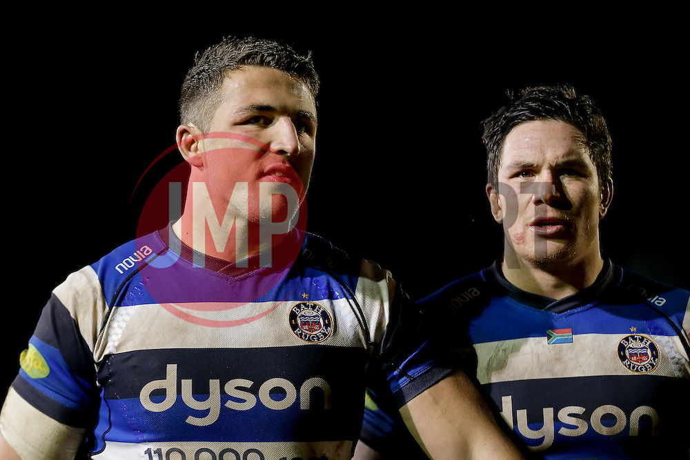 Bath Inside Centre Sam Burgess, making his first start for the Club, and Flanker Francois Louw, returning from injury, look on after the match - Photo mandatory by-line: Rogan Thomson/JMP - 07966 386802 - 12/12/2014 - SPORT - RUGBY UNION - Bath, England - The Recreation Ground - Bath Rugby v Montpellier Herault Rugby - European Rugby Champions Cup Pool 4.