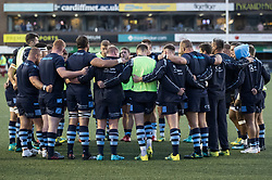 Cardiff Blues team huddle during the pre match warm up<br /> <br /> Photographer Simon King/Replay Images<br /> <br /> Guinness PRO14 Round 4 - Cardiff Blues v Munster - Friday 21st September 2018 - Cardiff Arms Park - Cardiff<br /> <br /> World Copyright © Replay Images . All rights reserved. info@replayimages.co.uk - http://replayimages.co.uk