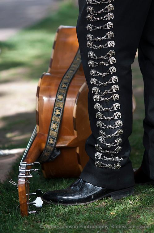 Detail of the pant leg of a Mariachi singer during the Fiesta de Santa Fe in Santa Fe, New Mexico.
