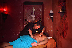 A masseur is seen giving a massage at the gay-friendly Les Bains de Kabira hammam in Marrakech, Morocco on May 12, 2009.