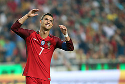 October 10, 2017 - Lisbon, Portugal - Portugal's forward Cristiano Ronaldo reacts during the 2018 FIFA World Cup qualifying football match between Portugal and Switzerland at the Luz stadium in Lisbon, Portugal on October 10, 2017. Photo: Pedro Fiuza  (Credit Image: © Pedro Fiuza/NurPhoto via ZUMA Press)