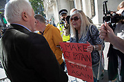 Television presenter and broadcaster David Dimbleby speaks to pro-leave protesters outside The Supreme Court as the first day of the hearing to rule on the legality of suspending or proroguing Parliament begins on September 17th 2019 in London, United Kingdom. The ruling will be made by 11 judges in the coming days to determine if the action of Prime Minister Boris Johnson to suspend parliament and his advice to do so given to the Queen was unlawful. David Dimbleby is a British journalist and former presenter of current affairs and political programmes, now best known for the BBC's long-running topical debate programme Question Time. (photo by Mike Kemp/In Pictures via Getty Images)