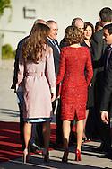King Felipe VI of Spain and Queen Letizia of Spain receive Jordan's King Abdullah II and Queen Rania of Jordan at Adolfo Suarez Madrid Barajas Airport on November 19, 2015 in Madrid