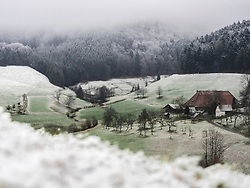 Farmhouse Hofbauernhof, snowy meadows and forest in little village in the Middle Black Forest, Elzach-Yach, Baden-Württemberg, Germany.