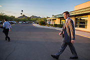 02 JULY 2012 - PARADISE VALLEY, AZ:   Congressman BEN QUAYLE, son of former Vice President Dan Quayle, walks back to his car after a Republican candidate forum in Paradise Valley Monday. David Schweikert and Quayle, both conservative freshmen Republican Congressmen from neighboring districts are facing each other in an August primary to see which one will represent Arizona's 6th Congressional District in 2013. The two were thrown into the same district as a result of legislative redistricting.    PHOTO BY JACK KURTZ
