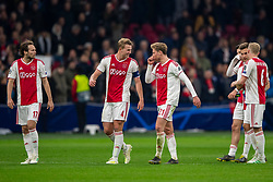 10-04-2019 NED: Champions League AFC Ajax - Juventus,  Amsterdam<br /> Round of 8, 1st leg / Ajax plays the first match 1-1 against Juventus during the UEFA Champions League first leg quarter-final football match / Daley Blind #17 of Ajax, Matthijs de Ligt #4 of Ajax, Frenkie de Jong #21 of Ajax, Donny van de Beek #6 of Ajax, Joel Veltman #3 of Ajax