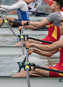 """Plovdiv, Bulgaria, 10th May 2019, FISA, Rowing World Cup 1,  Start Area Lightweight Men's Double sculls, Rowing, Sculling, Left over right, """"Crossover"""",<br /> [© Peter SPURRIER, ]"""
