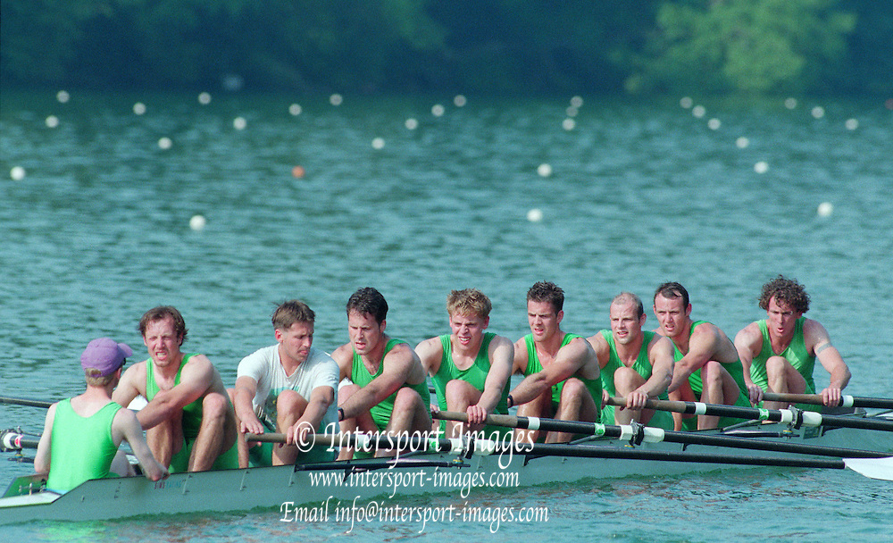 Lucerne, Switzerland. 1995 FISA WC III, Lake Rotsee, Lucerne,<br /> GBR M8+, NCRA Eight, Steve TRAPMORE at 5 and Simon LARKIN at 7.<br /> [Mandatory Credit. Peter SPURRIER/Intersport Images]<br /> <br /> Image scanned from Colour Negative
