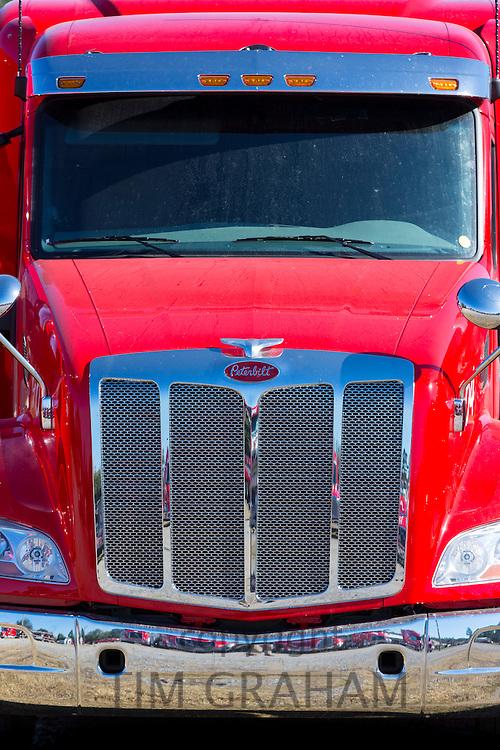 Engine and cab of Peterbilt truck used for Jordans Haulage, Natchez, Mississippi, USA