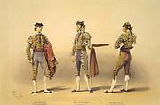 Matadors'. c1865. Lake Price (c1810-1896) English artist.  Jose Redondo (El Chiclanero), Juan Lucas Blanco of Seville, and Julian Casas (El Salamanquino). Spain Bullfighting  CorridaTorero Tradition Costume Blood Sport Spectacle