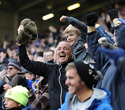 Everton fans celebrate Everton's Romelu Lukaku's goal - Photo mandatory by-line: Dougie Allward/JMP - Tel: Mobile: 07966 386802 23/11/2013 - SPORT - Football - Liverpool - Merseyside derby - Goodison Park - Everton v Liverpool - Barclays Premier League
