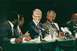 NELSON ROLIHLAHLA MANDELA (July 18, 1918 - December 5, 2013) world renowned civil rights activist and world leader dies at 95. Mandela emerged from prison to become the first black President of South Africa in 1994. As a symbol of peacemaking, he won the 1993 Nobel Peace Prize. Joined his countries anti-apartheid movement in his 20s and then the ANC (African National Congress) in 1942. For next 20 years, he directed a campaign of peaceful, non-violent defiance against the South African government and its racist policies and for his efforts was incarcerated for 27 years. PICTURED: Jan 28, 2011 - Sweden - NELSON MANDELA and INGVAR CARLSSON during a visit to Sweden. (Credit Image: © Aftonbladet/IBL/ZUMAPRESS.com)