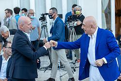 STEFANO BONACCINI E ADRIANO GALLIANI  <br /> INAUGURAZIONE CALCIOMERCATO 2021 GRAND HOTEL RIMINI