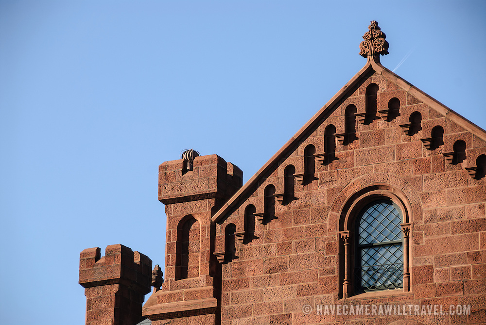 Smithsonian Castle Architectural Detail. Architectural detail of the Smithsonian Castle on the National Mall (shot from the east looking west). Originally comprising of exhibit and public engagement space, the Smithsonian Castle is now mostly taken up with the institution's administrative offices.