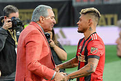 October 21, 2018 - Atlanta, GA, U.S. - ATLANTA, GA Ð OCTOBER 21:  Atlanta United owner Arthur Blank (left) embraces Josef Martinez (right) following the conclusion of the match between Atlanta United and the Chicago Fire on October 21st, 2018 at Mercedes-Benz Stadium in Atlanta, GA.  Atlanta United FC defeated the Chicago Fire by a score of 2 to 1.  (Photo by Rich von Biberstein/Icon Sportswire) (Credit Image: © Rich Von Biberstein/Icon SMI via ZUMA Press)