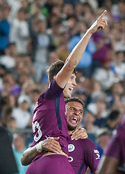 July 26, 2017 - Los Angeles, California, U.S - Pablo Zabaleta #5 of Manchester City celebrates after scoring a goal with teammate Kyle Walker #2 during their International Champions Cup game with Real Madrid at the Los Angeles Memorial Coliseum in Los Angeles, California on Wednesday July 26, 2017. Manchester City defeats Real Madrid, 4-1. (Credit Image: © Prensa Internacional via ZUMA Wire)