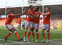 Blackpool's Nathan Delfouneso celebrates scoring his side's second and winning goal in injury time<br /> <br /> Photographer Stephen White/CameraSport<br /> <br /> The EFL Sky Bet League One - Blackpool v Fleetwood Town - Monday 22nd April 2019 - Bloomfield Road - Blackpool<br /> <br /> World Copyright © 2019 CameraSport. All rights reserved. 43 Linden Ave. Countesthorpe. Leicester. England. LE8 5PG - Tel: +44 (0) 116 277 4147 - admin@camerasport.com - www.camerasport.com<br /> <br /> Photographer Stephen White/CameraSport<br /> <br /> The EFL Sky Bet Championship - Preston North End v Ipswich Town - Friday 19th April 2019 - Deepdale Stadium - Preston<br /> <br /> World Copyright © 2019 CameraSport. All rights reserved. 43 Linden Ave. Countesthorpe. Leicester. England. LE8 5PG - Tel: +44 (0) 116 277 4147 - admin@camerasport.com - www.camerasport.com