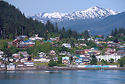 Coastal community of Wrangell is a port of call for cruise shps on the Inside  Passage of Alaska.