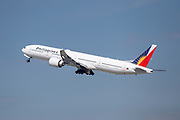 Philippines Airlines Boeing 777-300ER takes off for Manila from Los Angeles International Airport (LAX) on Saturday, February 29, 2020 in Los Angeles. (Brandon Sloter/Image of Sport)
