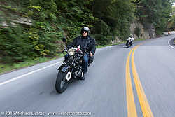 Bartek Mizerski riding his 1936 Sokol 1000 Polish motorcycle during Stage 4 of the Motorcycle Cannonball Cross-Country Endurance Run, which on this day ran from Chatanooga to Clarksville, TN., USA. Monday, September 8, 2014.  Photography ©2014 Michael Lichter.