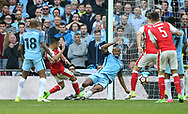 Arsenal's Alexis Sanchez scoring his sides second goal during the FA Cup Semi Final match at Wembley Stadium, London. Picture date: April 23rd, 2017. Pic credit should read: David Klein/Sportimage