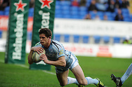Lloyd Williams of Cardiff blues dives over for the opening try. Heineken cup, Cardiff Blues v Racing Metro at the Cardiff city stadium in Cardiff, South Wales  on Sunday 22nd  Jan 2012. pic by Andrew Orchard, Andrew Orchard sports photography,