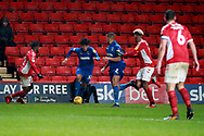 AFC Wimbledon midfielder Tyler Burey (32) dribbling during the EFL Sky Bet League 1 match between Charlton Athletic and AFC Wimbledon at The Valley, London, England on 15 December 2018.