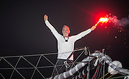 """The 2014 Route Du Rhum finish. Guadeloupe. Pictures of Loick Peyron onboard his """"Maxi Trimaran"""" Banque Populaire. Winning the Route du Rhum this evening in a new record time of 7 days 15hrs and 8 minutes <br /> Credit: Mark Lloyd/Lloyd Images"""