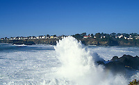 Looking at the village of Mendocino from across the bay, Mendocino California