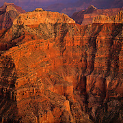 Twighlt on Confucius Temple from Point Sublime on the North Rim of the Grand Canyon in Arizona