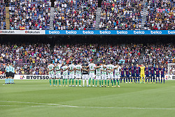 August 20, 2017 - Barcelona, Catalonia, Spain - Minute of silence before the match between FC Barcelona vs Real Betis Balompie, for the round 1 of the Liga Santander, played at Camp Nou Stadium on 20th August 2017 in Barcelona, Spain. (Credit Image: © Urbanandsport/NurPhoto via ZUMA Press)