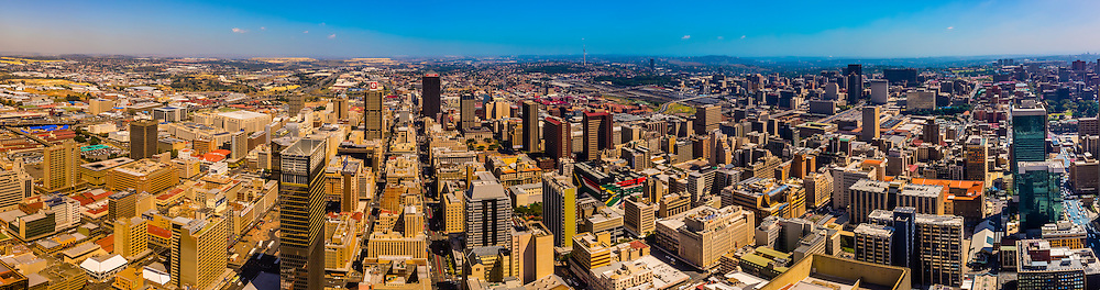 Panoramic view of Central Business District, Johannesburg, South Africa.
