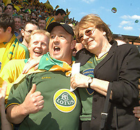 Photo:Alan Crowhurst.<br />WATFORD V NORWICH,Nationwide Division One,24/04/2004.Delia Smith poses with the Norwich supporters.