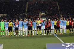 October 23, 2018 - Kharkiv, Ukraine - Referees, players of FC Shakhtar Donetsk (orange and black kit) and Manchester City FC (blue kit) pose for a photo as they promote the Equal Game campaign before the UEFA Champions League Group F Matchday 3 game at the Metalist Stadium Regional Sports Complex, Kharkiv, northeastern Ukraine, October 23, 2018. Ukrinform. /KDR/ (Credit Image: © Vyacheslav Madiyevskyy/Ukrinform via ZUMA Wire)