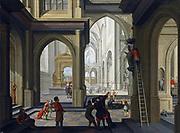 Dirck van Delen (ca. 1604 – 1671) 'Iconoclasts in a church'. 1630 Oil on panel