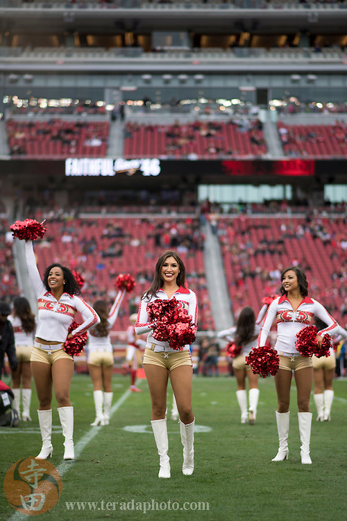 December 11, 2016; Santa Clara, CA, USA; San Francisco 49ers Gold Rush cheerleaders Lynnette (left), Kiirsta (center), and Aleena (right) before the game against the New York Jets at Levi's Stadium. The Jets defeated the 49ers 23-17 in overtime.