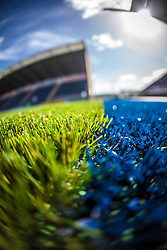 Picture of The Falkirk Stadium's new pitch, for the Scottish Championship game v Hamilton. The woven GreenFields MX synthetic turf and the surface has been specifically designed for football with 50mm tufts compared with the longer 65mm which has been used for mixed football and rugby uses.  It is fully FFA two star compliant and conforms to rules laid out by the SPL and SFL.<br /> ©Michael Schofield.
