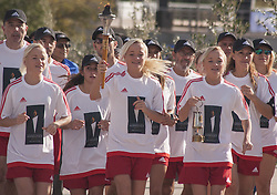 November 12, 2016 - Marathonas, Greece - Last torch Bearers were the Luik Triplets the long range and Marathon Runners. Ceremony in the Greek city of Marathonas as part of the 35 Athens Marathon the Authentic. (Credit Image: © George Panagakis/Pacific Press via ZUMA Wire)