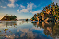 An amazing late afternoon on Ruby Beach on Washington's Olympic Peninsula during the golden hour, when the light is warm and radiant while the evening cools and colors can appear both warm and cool at the same time.