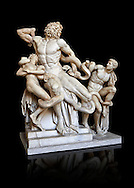 Statue group identified as as the Laocoon described by Pliny as a masterpiece made by the sculptors of Rhodes. The Laocoon depicts a scene from the Trojan War in which Athena and Poseidon sent two great serpants to wrap themselves around Laocoon and his two sons to kill them. Circa 40-30BC, Pope Clement XIV coillection, Vatican Museum Rome, Italy,  black background ..<br /> <br /> If you prefer to buy from our ALAMY STOCK LIBRARY page at https://www.alamy.com/portfolio/paul-williams-funkystock/greco-roman-sculptures.html . Type -    Vatican    - into LOWER SEARCH WITHIN GALLERY box - Refine search by adding a subject, place, background colour, museum etc.<br /> <br /> Visit our CLASSICAL WORLD HISTORIC SITES PHOTO COLLECTIONS for more photos to download or buy as wall art prints https://funkystock.photoshelter.com/gallery-collection/The-Romans-Art-Artefacts-Antiquities-Historic-Sites-Pictures-Images/C0000r2uLJJo9_s0c