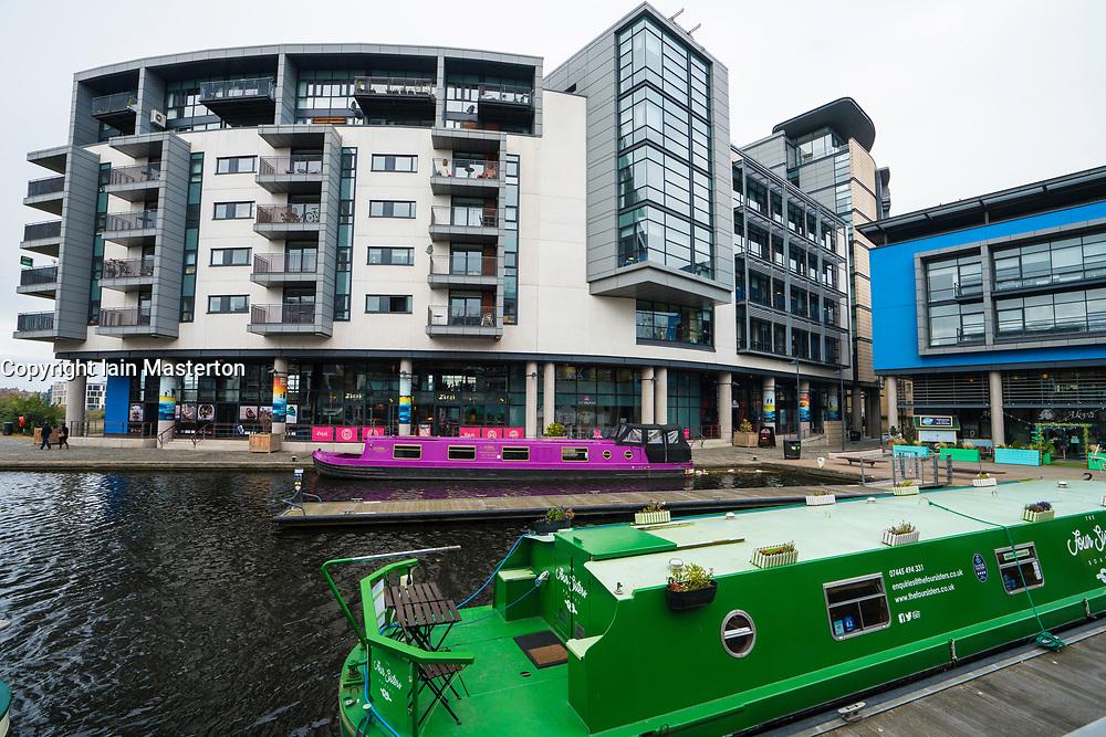 Fountainbridge canal-side property development in Edinburgh, Scotland, United Kingdom.