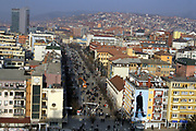 """Kosovo, Pristina (Mother Teresa square)<br /> February 15 2008<br /> <br /> A view of Mother Teresa Square, from Grand HOTEL Pristina, also you can see a poster with former president of Kosovo, Dr.Ibrahim RUGOVA, which poster is in """"Zahir PAJAZITI"""" square in Pristina centre.<br /> <br /> phoo by: VEDAT xhymshiti"""