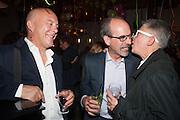 BEN LANGLANDS; STEPHEN DEUCHAR; NIKKI BELL, The artists party hosted by the Art Fund and Jeremy Deller. Caravan, King's Cross. Granary Sq. London. 23 September 2013.