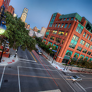 Intersection in the Quality Hill neighborhood of downtown Kansas City MO, taken from the top a parking garage.