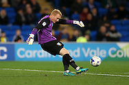 Sheffield Wednesday goalkeeper Cameron Dawson in action.  EFL Skybet championship match, Cardiff city v Sheffield Wednesday at the Cardiff city stadium in Cardiff, South Wales on Wednesday 19th October 2016.<br /> pic by Andrew Orchard, Andrew Orchard sports photography.