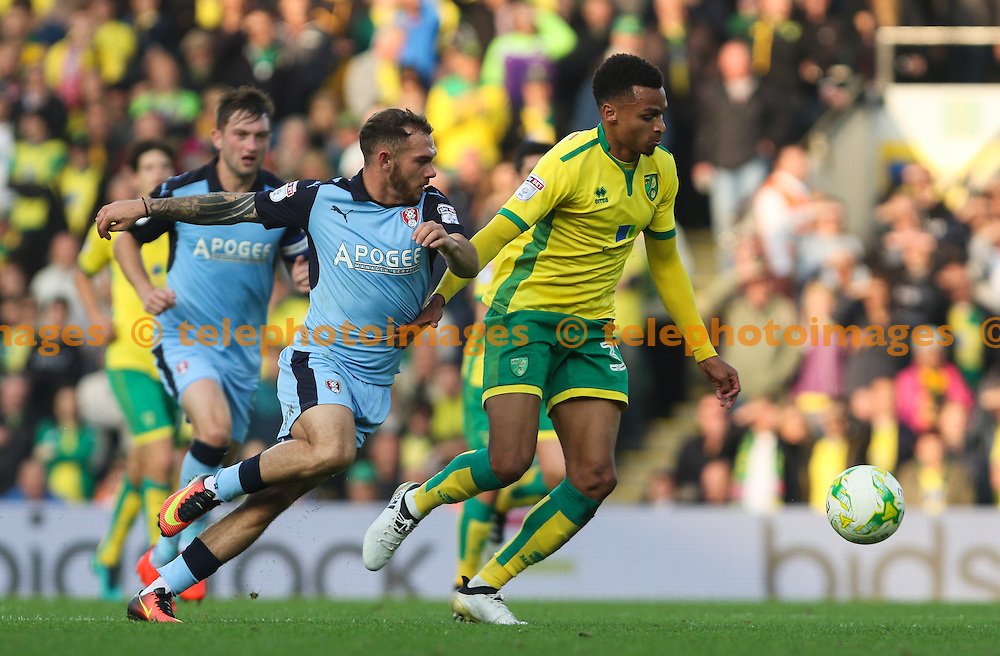 Josh Murhpy of Norwich City runs with the ball during the Sky Bet Championship match between Norwich City and Rotherham United at Carrow Road in Norwich. October 15, 2016.<br /> Arron Gent / Telephoto Images<br /> +44 7967 642437