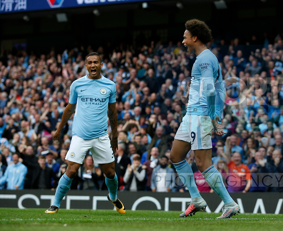 \mc19 celebrates his goal with Danilo of Manchester City during the premier league match at the Etihad Stadium, Manchester. Picture date 22nd September 2017. Picture credit should read: Simon Bellis/Sportimage
